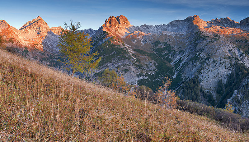 Glühende Bergspitzen in den Allgäuer Alpen