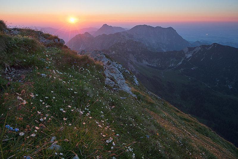 Sonnenuntergang in den Tannheimer Bergen